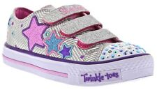 Skechers Girls Kids Twinkle Toes Triple Up Light Up Sneaker Silver/Multi
