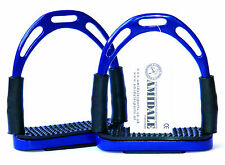 JINN FLEXI  STIRRUPS HORSE RIDING BENDY IRONS STAINLESS STEEL NAVY BLUE COLOR