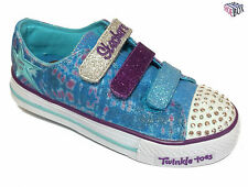 Skechers S Lights Peace N Love Girls Light Up Canvas Trainers Size UK 10.5 - 1.5