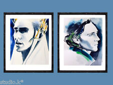 Set of 2 Loki Thranduil Tom Hiddleston Lee Pace Art Prints Painting Portraits