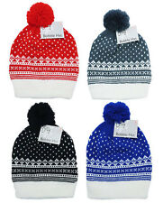 MENS ADULT XMAS FAIRISLE BOBBLE HAT THERMAL WINTER BEANIE HAT ONE SIZE FITS ALL