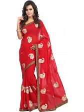 Red Georgette Embroidered Saree With Unstitched Blouse Piece