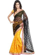 Black Net Saree With Unstitched Blouse Piece