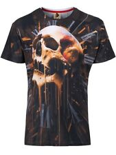 Monkey Business Skull Drip Full Print Mens Black T-shirt