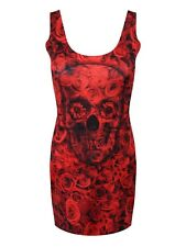 Monkey Business Skull & Roses Full Print Red Bodycon Dress