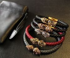 Two/Twin Skull Leather Bracelet/Bangle/Wristband/Red/Black/Gold/Silver/Brown