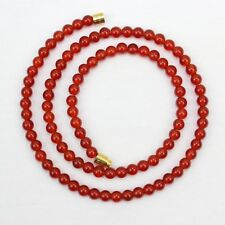 CORNIOLA COLLANA 4mm Vere Naturali 4 mm CORNIOLA PERLINE ROSSO ARANCIO PERLINE