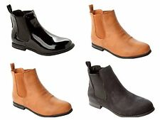 WOMENS CHELSEA LOW HEEL FLAT CHELSEA STRETCH ANKLE BOOTS LADIES UK SIZE 3-8