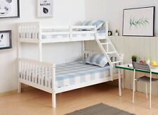 FoxHunter Bunk Bed Wooden Frame Children Kids Triple Sleeper No Mattress 3FT 4FT