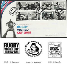 GB 2015 Rugby World Cup FDCs - First Day Covers - Various Postmarks Unaddressed