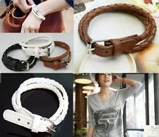 Punk Men Women Surfer Multi Layer Bangle Wrap Unisex Cuff Faux Leather Bracelet
