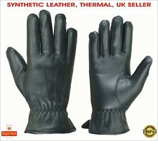 Men's Winter Thermal Synthetic Leather Warm Gloves Soft Driving Outdoor Fleece
