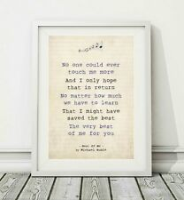 025 Michael Buble - Best Of Me - Song Lyric Art Poster Print - Sizes A4 A3