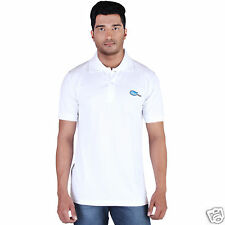 Fleximaa Men's Collar (Polo) T-Shirt White Color with Embroidery