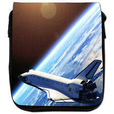 Space Shuttle Orbiting Earth Black Canvas Shoulder Bag