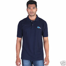 Fleximaa Men's Collar (Polo) T-Shirt Navy Blue Color with Embroidery