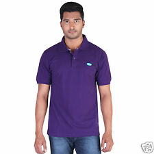 Fleximaa Men's Collar (Polo) T-Shirt Purple Color with Embroidery