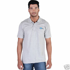 Fleximaa Men's Collar (Polo) T-Shirt Grey Milange Color with Embroidery