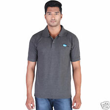 Fleximaa Men's Collar (Polo) T-Shirt Charcoal Milange Color with Embroidery