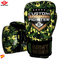CUSTOM FIGHTER BOXING GLOVES Guantes de Boxeo Army Muay Thai BJJ Mma camuflaje