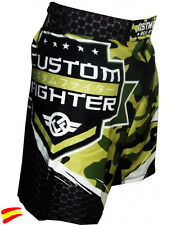 CUSTOM FIGHTER SHORTS PANTALONES MMA ARMY, muay thai kick boxing k1 boxeo