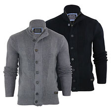 Mens Cardigan Jumper Brave Soul Mira Cotton Zip & Button Up Funnel Neck Sweater