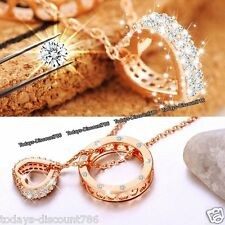 Rose Gold Heart & Ring Crystal Necklaces Silver Xmas Gifts For Her Best Friends