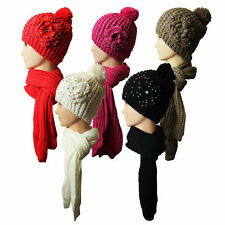 Marku Ladies Knitted Hand Made Hat & Scarf Set With Flower & Diamonte Detail