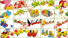 Pull Along Toys Animals Kids Children Babies Wooden Colourful Preschool Baby Toy