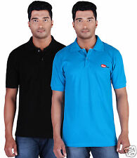 Fleximaa Men's Collar (Polo) T-Shirt Black & Blue Color (Pack of 2)