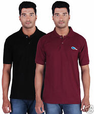 Fleximaa Men's Collar (Polo) T-Shirt Black & Maroon Color (Pack of 2)