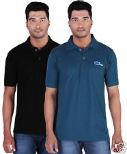 Fleximaa Men's Collar (Polo) T-Shirt Black & Petrol Blue Color (Pack of 2)