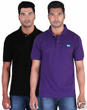 Fleximaa Men's Collar (Polo) T-Shirt Black & Purple Color (Pack of 2)