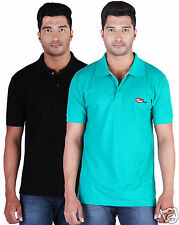 Fleximaa Men's Collar (Polo) T-Shirt Black & RelianceGreen Color (Pack of 2)