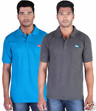 Fleximaa Men's Collar (Polo) T-Shirt Black & CharcoalMilange Color (Pack of 2)