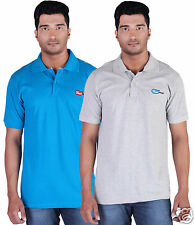 Fleximaa Men's Collar (Polo) T-Shirt Blue & GreyMilange Color (Pack of 2)