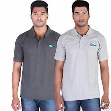 Fleximaa Men's Collar (Polo) T-Shirt Charcoal & Grey Color (Pack of 2)