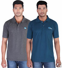 Fleximaa Men's Collar (Polo) T-Shirt Charcoal & PetrolBlue Color (Pack of 2)
