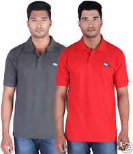 Fleximaa Men's Collar (Polo) T-Shirt Charcoal & Red Color (Pack of 2)