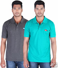 Fleximaa Men's Collar (Polo) T-Shirt Charcoal & RelianceGreen Color (Pack of 2)