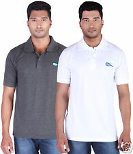 Fleximaa Men's Collar (Polo) T-Shirt Charcoal & White Color (Pack of 2)