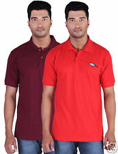 Fleximaa Men's Collar (Polo) T-Shirt Maroon & Red Color (Pack of 2)