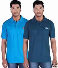 Fleximaa Men's Collar (Polo) T-Shirt Blue & Petrol Blue Color (Pack of 2)