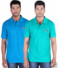 Fleximaa Men's Collar (Polo) T-Shirt Blue & RelianceGreen Color (Pack of 2)
