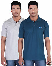 Fleximaa Men's Collar (Polo) T-Shirt Grey Milange & PetrolBlue Color (Pack of 2)