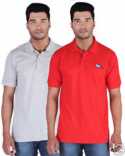 Fleximaa Men's Collar (Polo) T-Shirt Grey Milange & Red Color (Pack of 2)