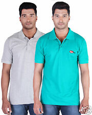 Fleximaa Men's Collar (Polo) T-Shirt Grey & Reliance Green Color (Pack of 2)