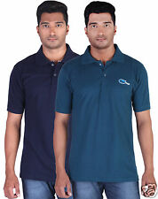 Fleximaa Men's Collar (Polo) T-Shirt Navy Blue & Petrol  Green Color (Pack of 2)