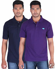 Fleximaa Men's Collar (Polo) T-Shirt Navy Blue & Purple Color (Pack of 2)