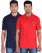 Fleximaa Men's Collar (Polo) T-Shirt Navy Blue & Red Color (Pack of 2)